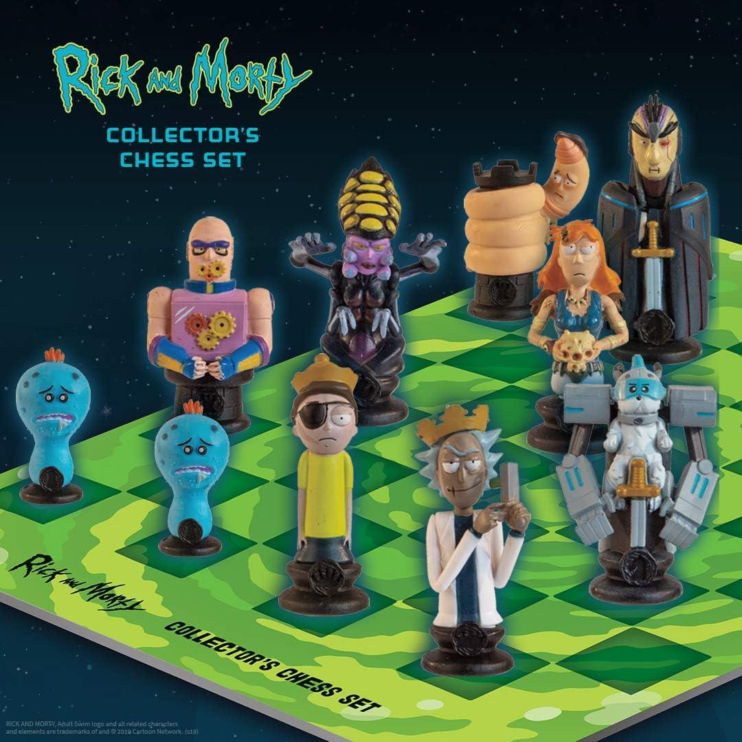 The Op Games Rick and Morty Juego de ajedrez para coleccionistas | 32 piezas de ajedrez esculpidas personalizadas para adultos Nadar Rick y Morty personajes del Bueno y el mal | Juego