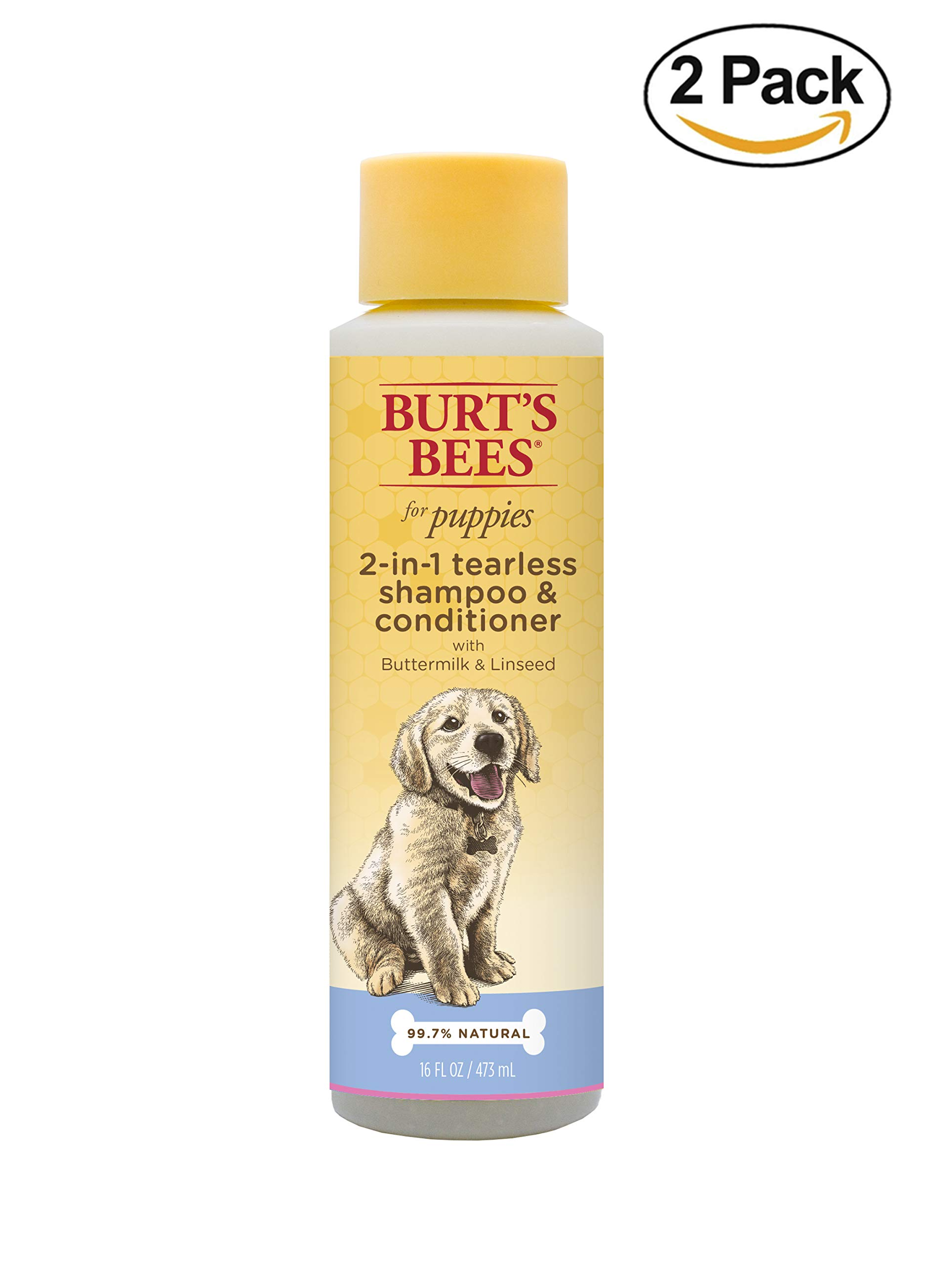Burt's Bees for Dogs All-Natural Tearless 2 In 1 Shampoo & Conditioner | Best Shampoo & Conditioner for All Dogs & Puppies, Pack of 2