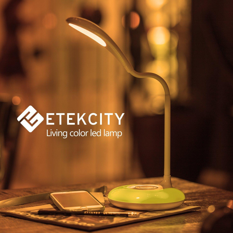 Etekcity LED Desk Lamp with Flexible Gooseneck Adjustable Brightness Level Night Light, 1000mAh Rechargeable Eye-caring Colorful Table Light with USB Port Touch Control (256 Base Color) by Etekcity (Image #7)
