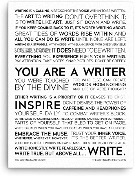 Amazon.com: Writer Inspiration Premium Print - Inspirational Quotes for  Authors, Poets & Wordsmiths to Increase Creativity & Overcome Writer's  Block; Writing Poetry Wall Art; Gift for Writers; Glossy 12x16 Inches