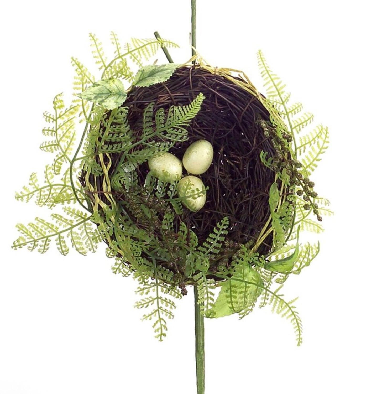 Pack of 6 Decorative Plastic Green and Brown Twig Bird Nest Pick