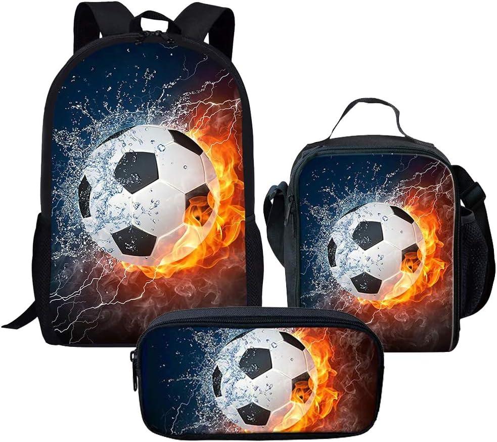 Fire and Water Soceer 3 Pcs/Set Backpacks School Bags Junior Bookbag Teenager Girls Lunch Bags, Pencil Case, Boys Daypacks Set, Bookbags Shoulder Bag Pouch 3 in 1
