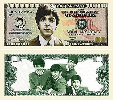 "Amazon.com  100 Paul Mccartney (Beatles) Million Dollar Bill with Bonus "" Thanks a Million"" Gift Card Set  Everything Else 80baa531d"