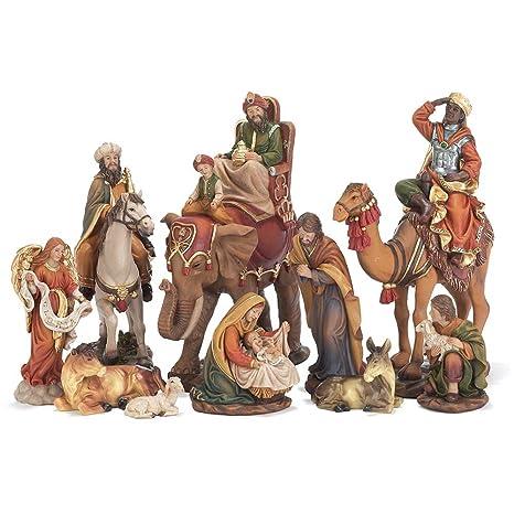 Amazon.com: 10 pieza Resina Natividad Set con animales y ...