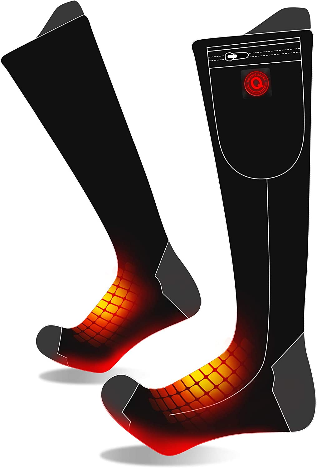 7.4V Men Electric Heated Socks with Rechargeable Battery,3 Heat