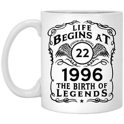 22nd Birthday Mug Life Begins At 22 1996 The Birth Of Legeds 22th Gifts Idea
