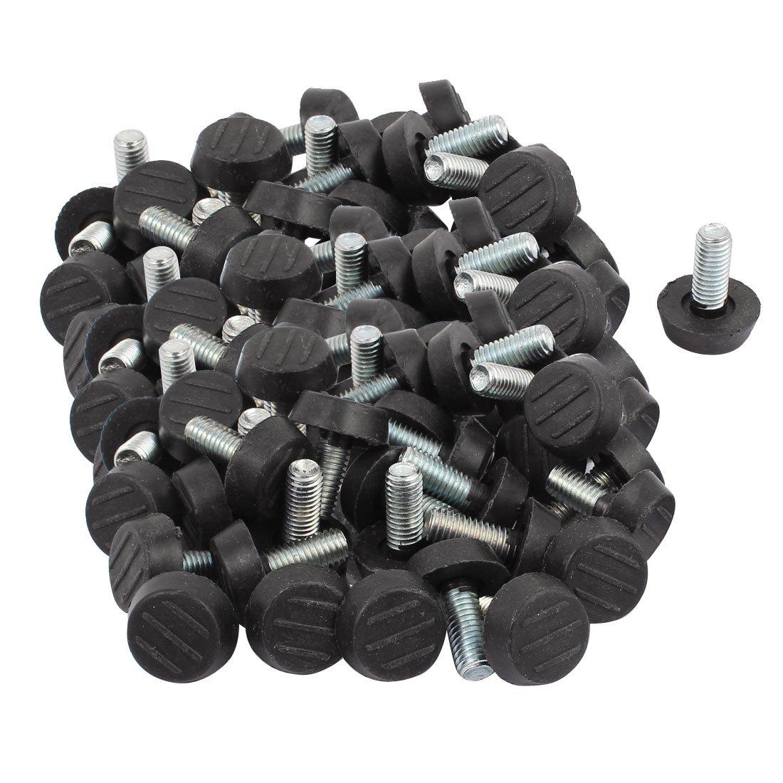 uxcell Furniture Table M8x20mm Plastic Base Thread Stem Adjustable Leveling Feet 100pcs