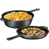 Pre-Seasoned 2-In-1 Cast Iron Multi-Cooker – Heavy Duty 3 Quart Dutch Oven Skillet and Lid Set, Non-Stick Kitchen…
