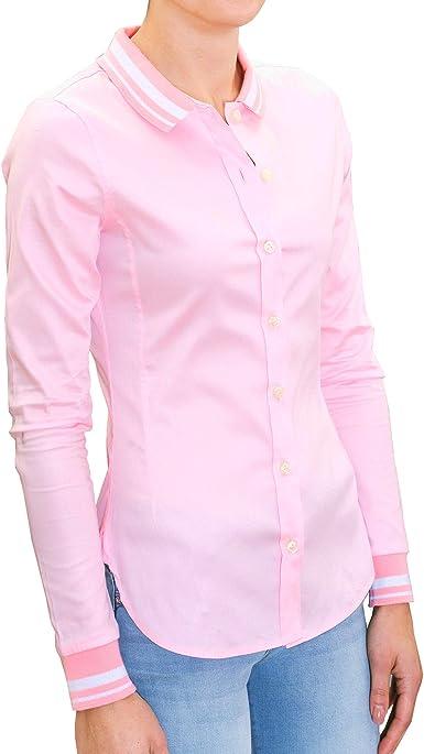chaika Camisa Mujer Elegante & Original Manga Larga de Vestir Blusa Rosa S: Amazon.es: Ropa y accesorios