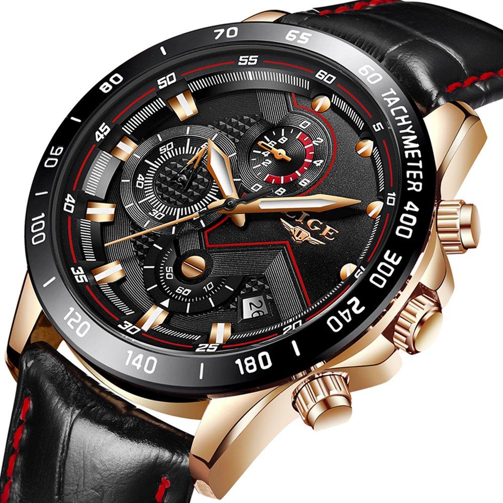 Mens Watches Luxury Brand LIGE Fashion Casual Sports Analog Quartz Watch Men Chronograph Waterproof Luminous Black Leather Wristwatch
