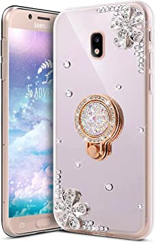 KunyFond Funda Compatible Samsung Galaxy J5 2017,Carcasa Flores Espejo Mirror Round Anillo Soporte Movil TPU Purpurina Brillo Brillantes Bling Glitter Diamond Case Cover Resisten Gel Bumper-Silver: Amazon.es: Electrónica