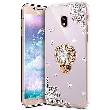 KunyFond Funda Compatible Samsung Galaxy J5 2017,Carcasa Flores Espejo Mirror Round Anillo Soporte Movil TPU Purpurina Brillo Brillantes Bling Glitter ...