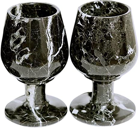 RADICALn Marble Wine Glasses 5 4 oz 5 x 3 inches - Set of 2 Glasses -  Available in Different Colors (Black)