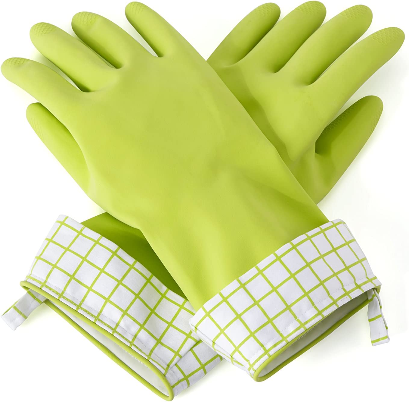 Full Circle Splash Patrol Natural Latex Cleaning and Dish Gloves, Medium/Large, Green