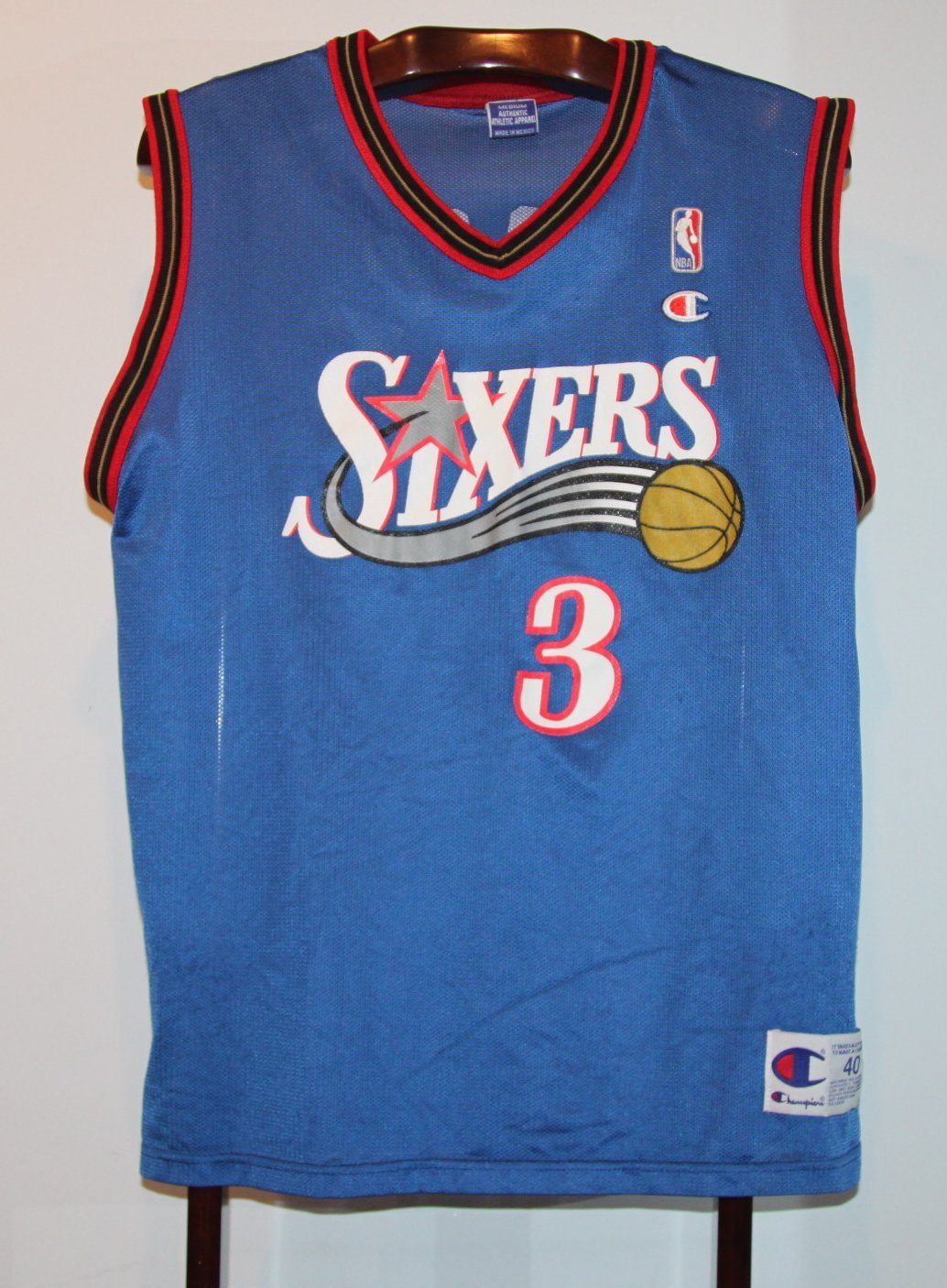 Trikot Jersey-Camiseta de baloncesto, diseño de baloncesto Nba Philadelphia 76ers Allen Iverson M: Amazon.es: Deportes y aire libre