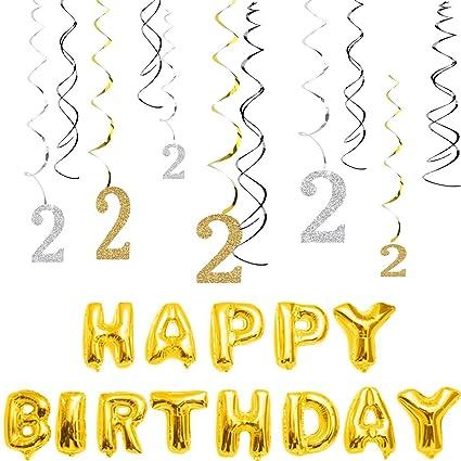 Amazon MAGJUCHE 2nd Birthday Decorations Kit Gold Silver
