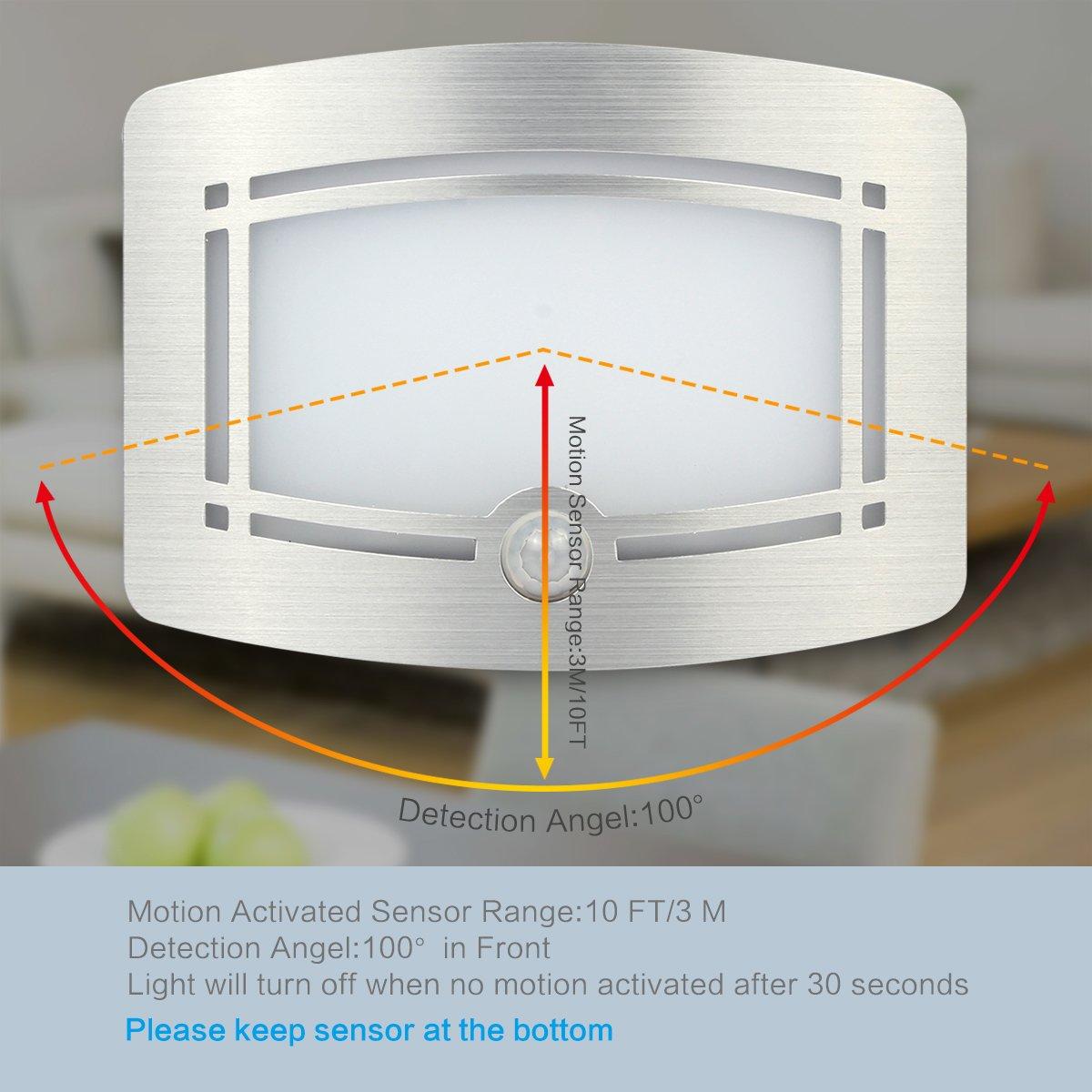 Motion Sensor LED Night Light,Wireless Battery Powered Wall Lamp,Stick Anywhere Wall Sconce,Aluminum Case Closet Light,Safe Light for Stair, Hallway,Bathrom,Bedroom,Kitchen by Kalefu (Image #3)