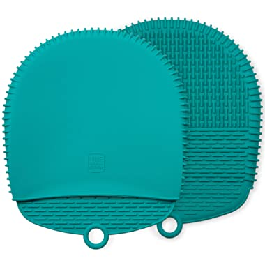 The Ultimate Oven Mitts / Pot Holders | 100% Silicone Mitt is Healthier Than Cotton & Easier to Clean, Won't Grow Mold or Bacteria | Unique Design Makes it Safe, Non-Slip & Flexible (Teal, 1 Pair)
