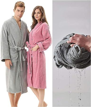 XUMING para Hombre de Las señoras de Albornoz Bata Bata de baño de Rizo 100% Vestidos Batas Toalla de algodón Mujer de los Hombres,Blanco,L: Amazon.es: Hogar