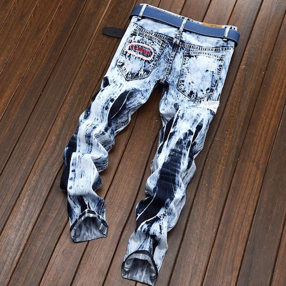 Pantalones Vaqueros Rotos Hombre Pantalones Largos de Mezclilla Skinny Slim Fit Delgados Chandal El/ásticos Tallas Grandes Vintaje Retro Jeans Pantalones Impresos Pantal/ón de Pitillo SUNNSEAN