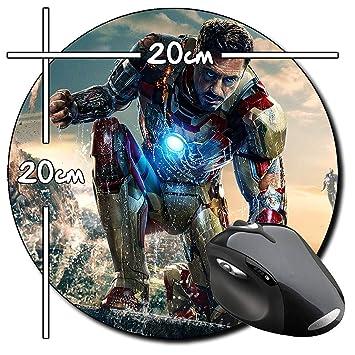 Iron Man 3 Tony Stark Robert Downey Jr A Alfombrilla Redonda Round Mousepad PC: Amazon.es: Informática