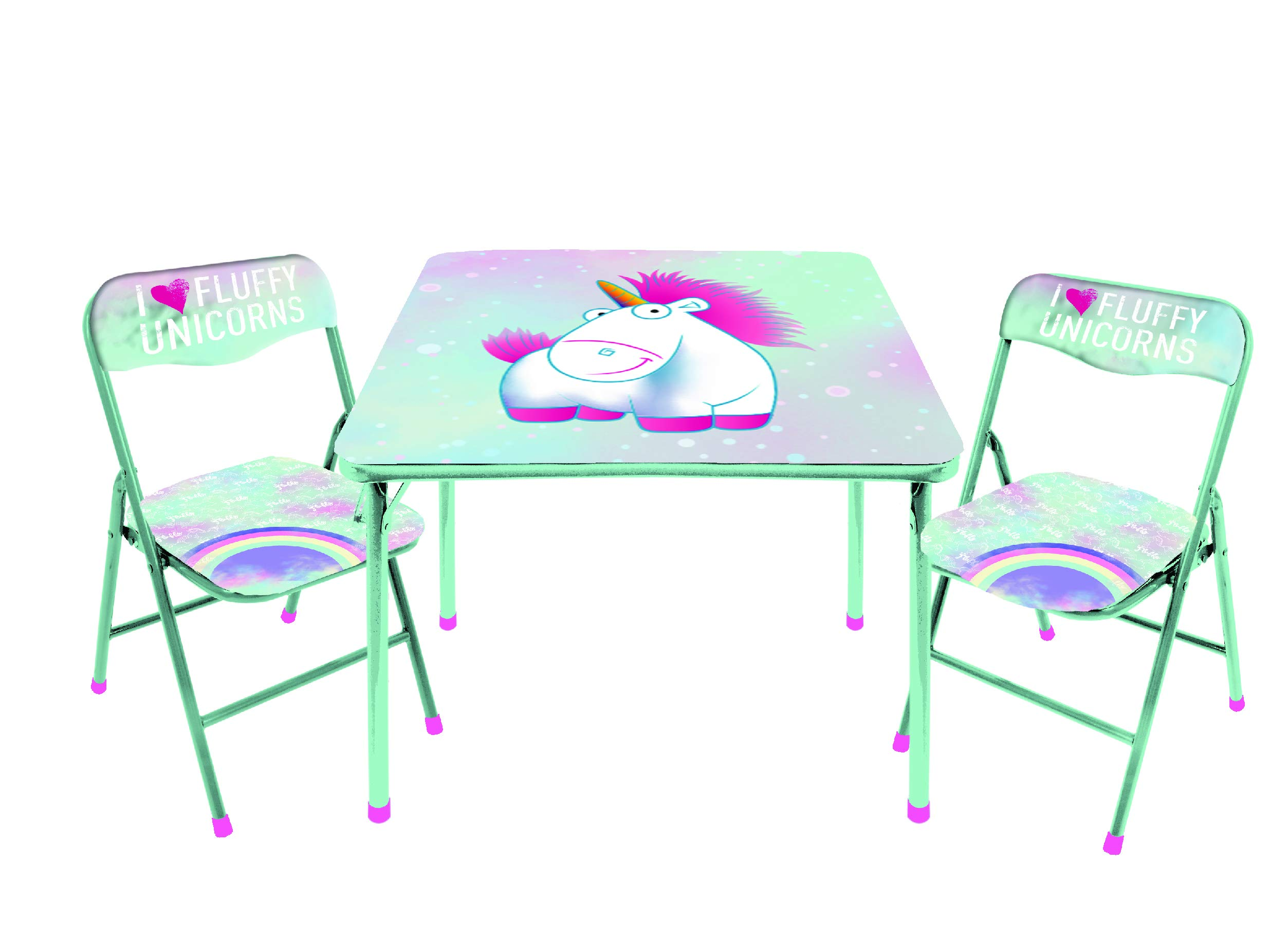 Universal Despicable Me Fluffy The Unicorn 3 PC Table & Chair Set, Mint by Universal