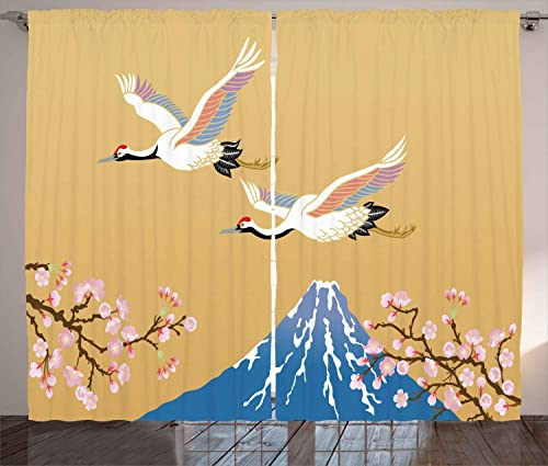 Ambesonne Asian Curtains, Japanese Crane Flying Hill Mountain and Cherry Blossoms Design, Living Room Bedroom Window Drapes 2 Panel Set, 108 X 108 , Blue Mustard