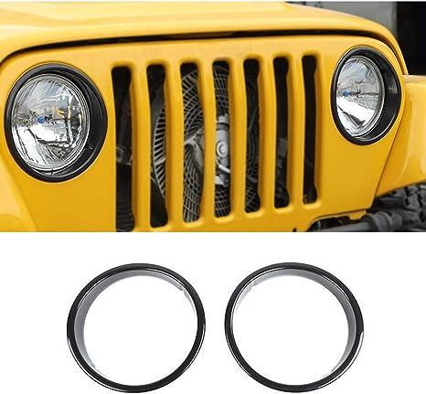 Pair Black Headlight Bezels Insert Cover Trim for Jeep Wrangler TJ 1997-2006