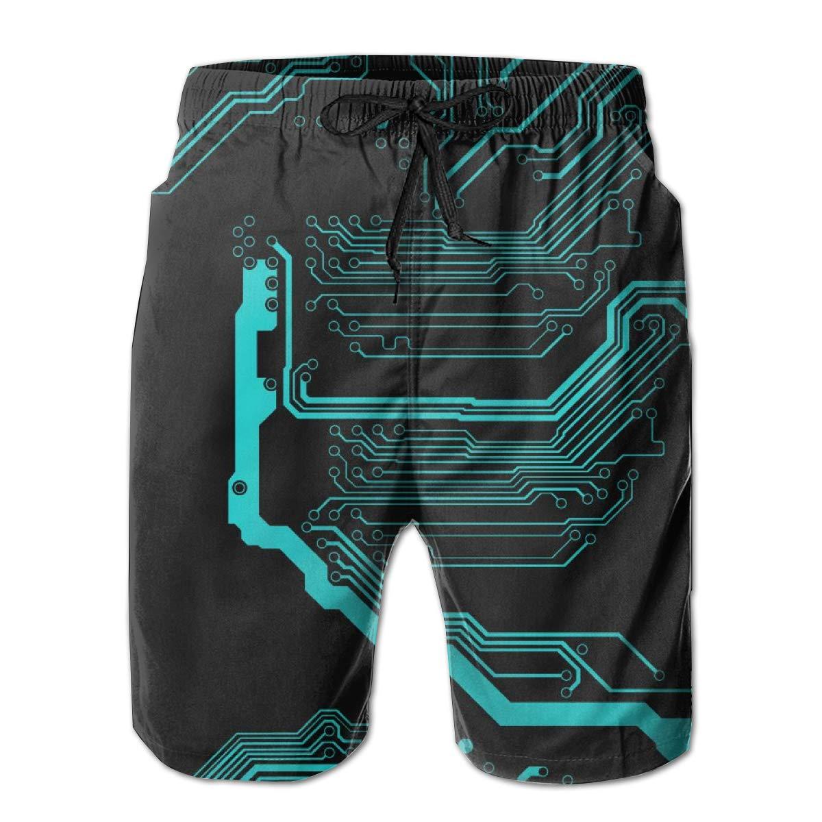 HZamora/_H Men Circuit Board Summer Breathable Quick-Drying Swim Trunks Beach Shorts Cargo Shorts