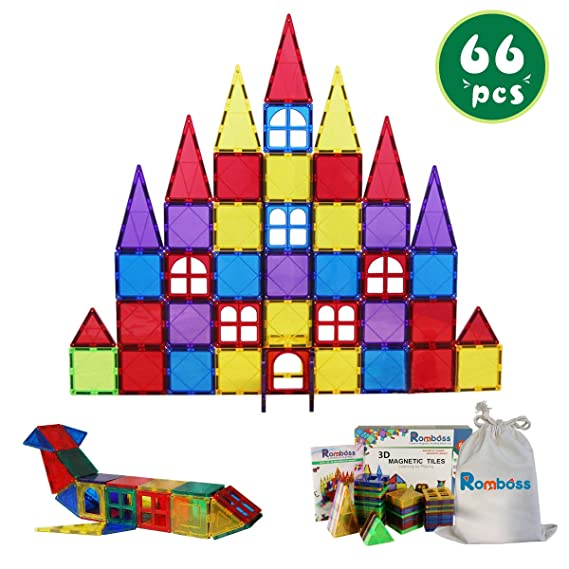 Romboss 68Pcs Magnetic Tiles Set Stem 3D Magnets Preschool Educational Building Blocks Toys for Toddler&Kids, Bonus Storage Bag