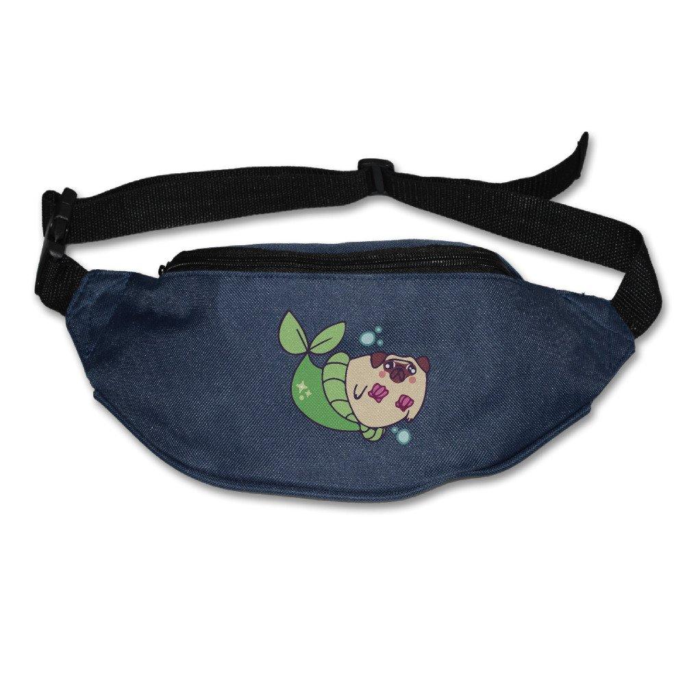 Funny Pug Mermaid Adjustable Fanny Running Waist Pack Bag