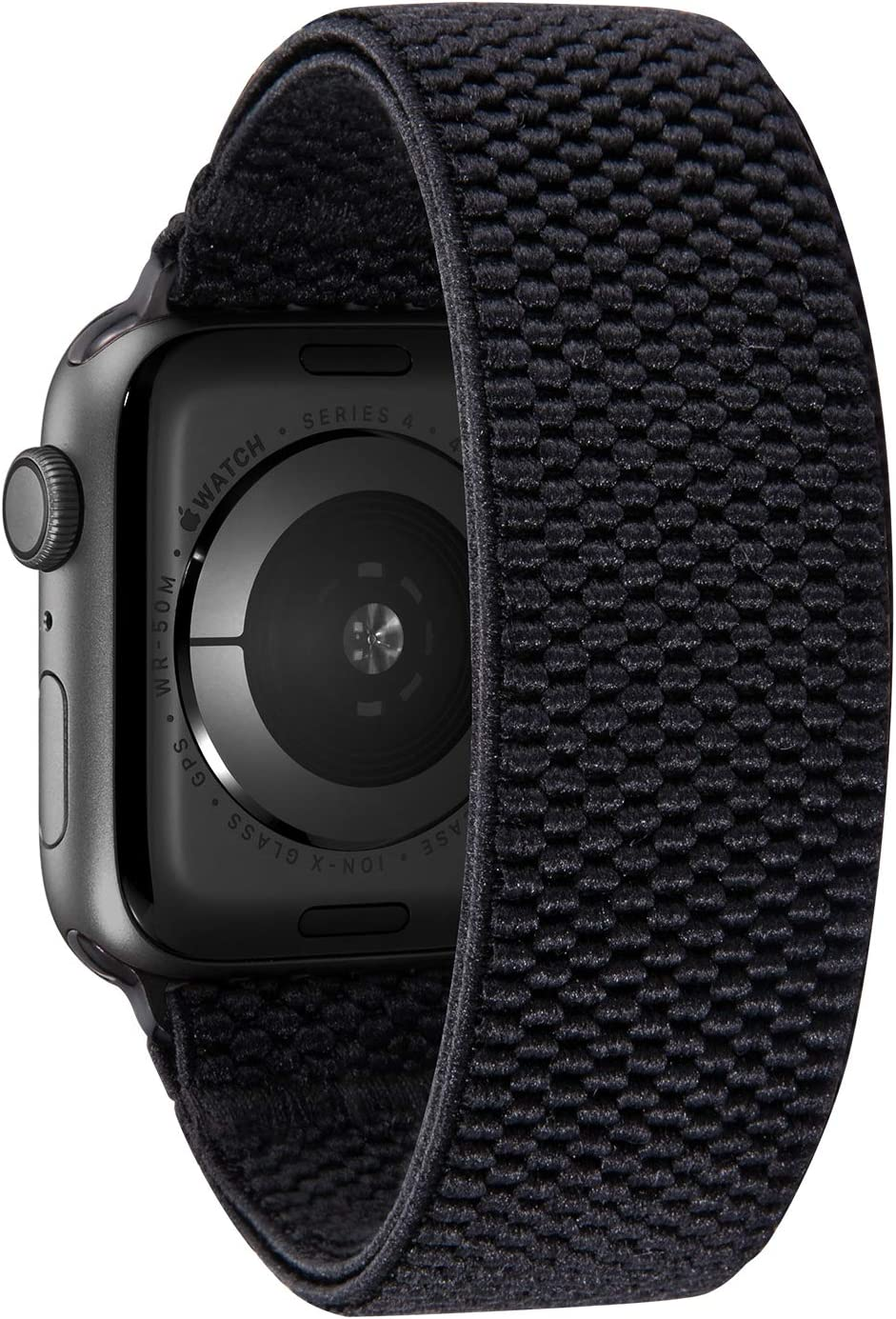 Nomchi Double Layer Loop Elastic Compatible/Replacement Band for Apple Watch 38mm 40mm 42mm 44mm (Patterned Black, Wrist Size: 5.5-5.9 inch (S),42mm/44mm)