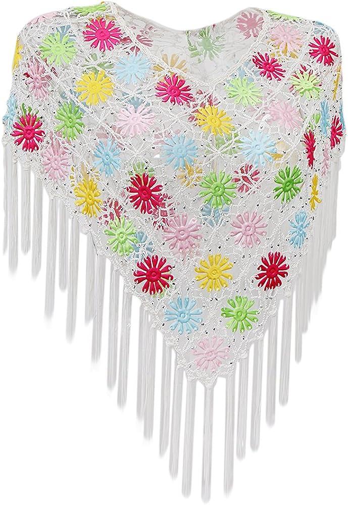 Blusa Boho Cover Up Ahueca Hacia Fuera Bikini Floral Colorido Encubrir Ganchillo Borla Chal Verano - Blanco, Única: Amazon.es: Ropa y accesorios