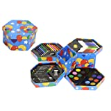 Kandy Childrens 52 Pcs Craft Art Artists Set Hexagonal Box Crayons Paints Pens Pencils