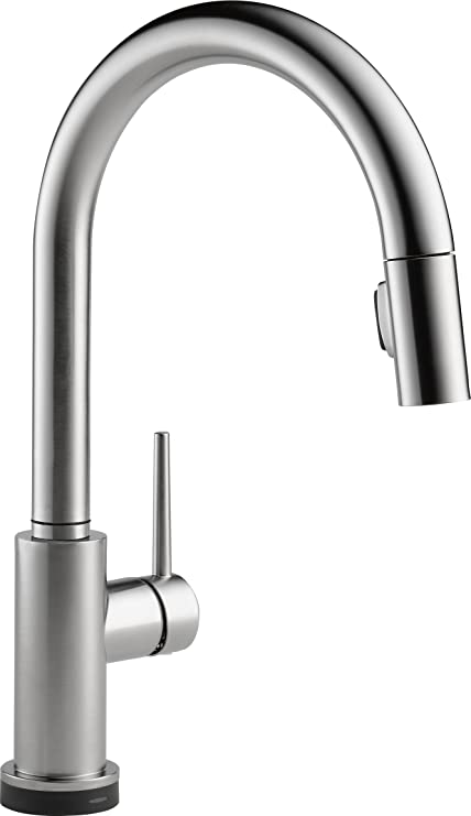 Delta Faucet Trinsic Single-Handle Touch Kitchen Sink Faucet with Pull Down  Sprayer, Touch2O Technology and Magnetic Docking Spray Head, Arctic ...