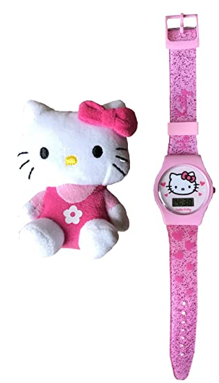 Hello Kitty - Reloj Digital con Correa de Silicona y Juguete de Hello Kitty, Color Rosa: Amazon.es: Relojes