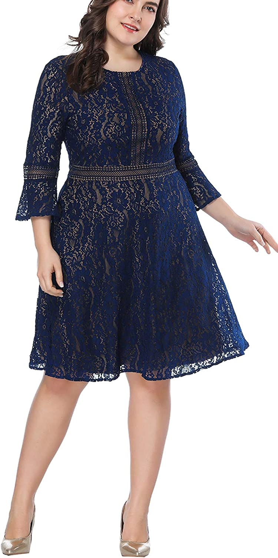 Eternatastic Womens Floral lace Plus Size Midi Dress Scooped Neckline Cocktail Party Dress