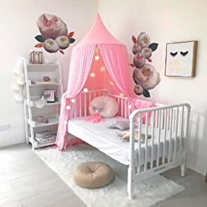 Fashionme Bed Canopy Princess Castle Round Dome Mosquito Net Baby Kids Playing Reading Nook Tent Indoor Game House Room Decoration (Pink)