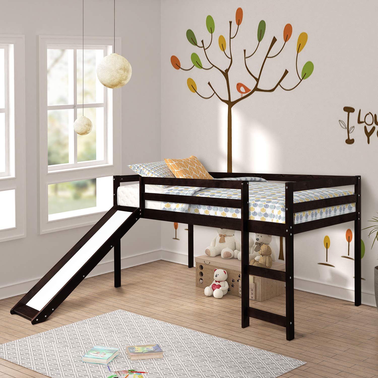 Loft Bed, Rockjame Twin Wood Kids Bed with Slide Multifunctional Design for Boys, Girls and Young Teens Espresso