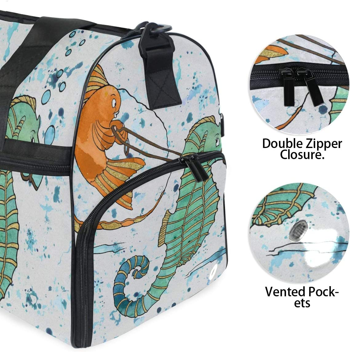 FANTAZIO Funny Seahorse Goldfish Watercolor Painting Sports Duffle Bag Gym Bag Travel Duffel with Adjustable Strap