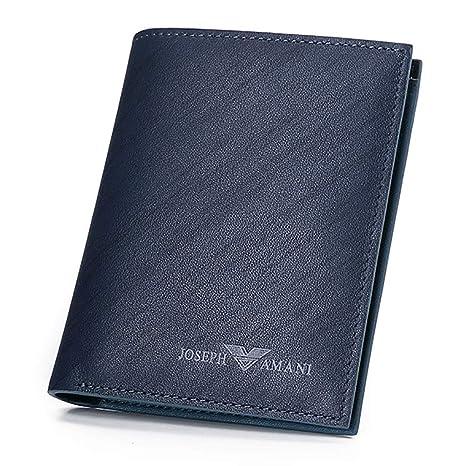 Cartera Wallet Hombres Juvenil Cartera Vertical Business Tarjeta Azul Paquete (Color : Azul, Tamaño