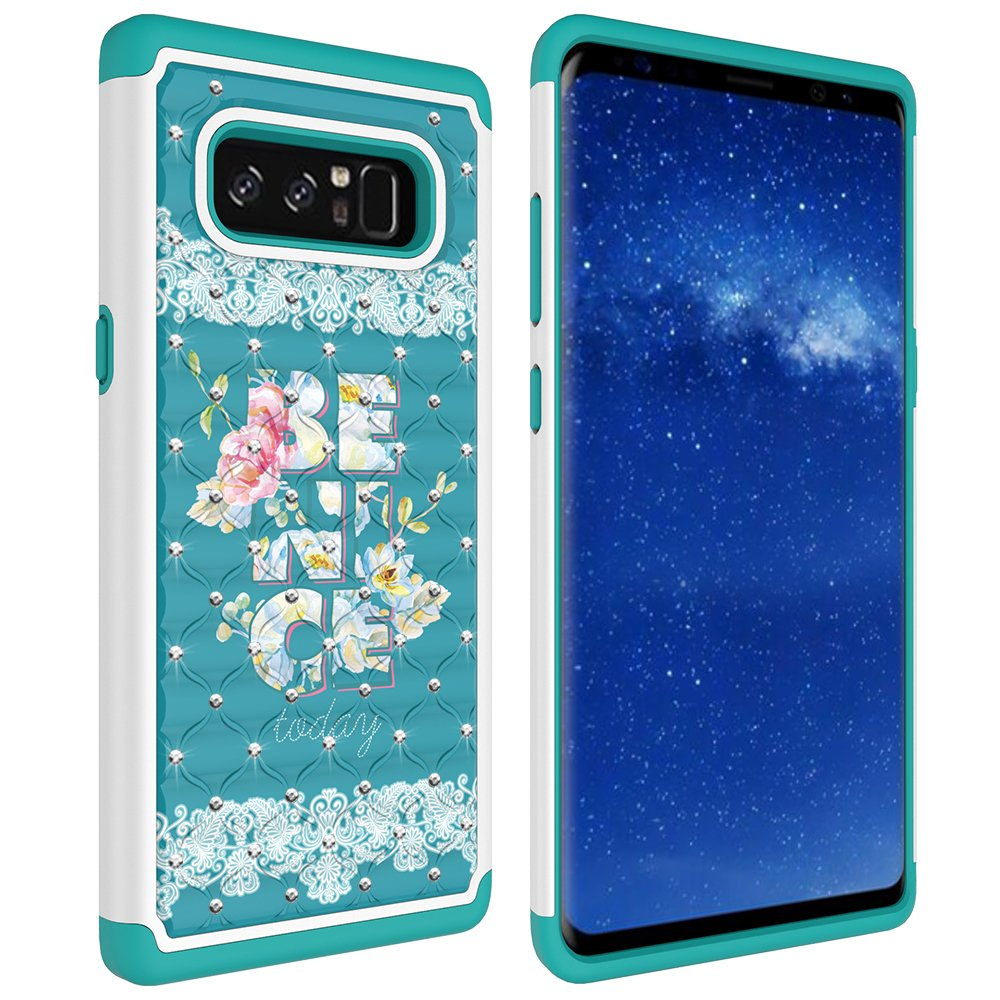 Note 8 Case, Galaxy Note 8 Case, MagicSky [Shock Absorption] Studded Rhinestone Bling Hybrid Dual Layer Armor Defender Protective Case Cover for Samsung Galaxy Note 8 (Be Nice)