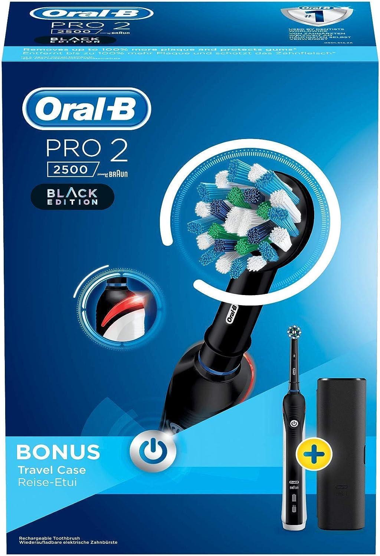 Oral-B Pro2 - 2500 - Brosse à Dents Électrique Rechargeable, 1Manche avec Capteur de Pression Visible, 1Brossette, 1Étui de Voyage