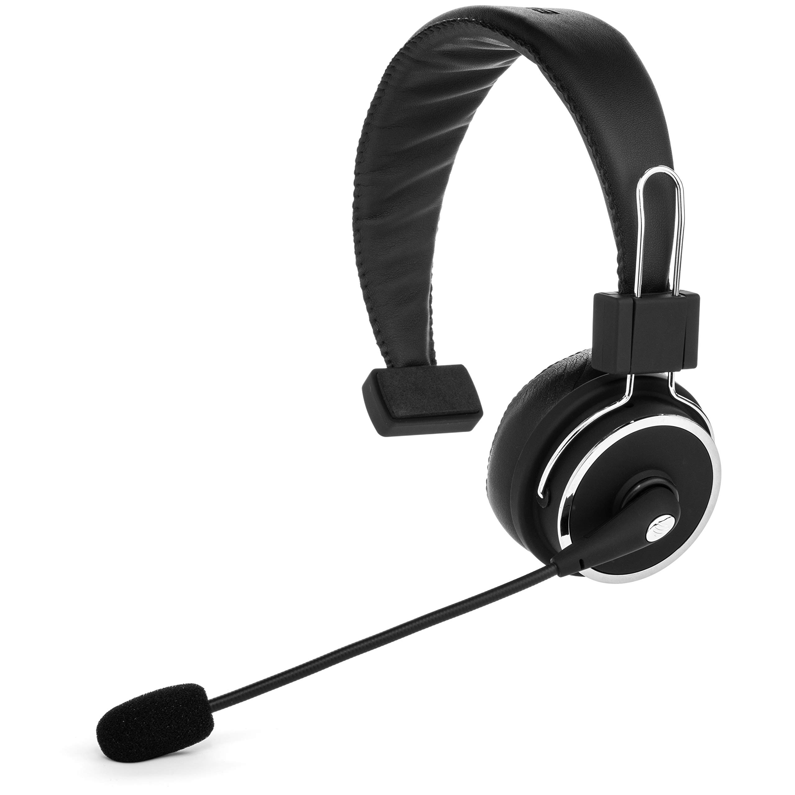 Blue Tiger Elite Premium Wireless Bluetooth Headset - Professional Truckers' Noise Cancellation Head Set with Microphone - Clear Sound, Long Battery Life, No Wires - 34 Hour Talk Time - Black by Blue Tiger