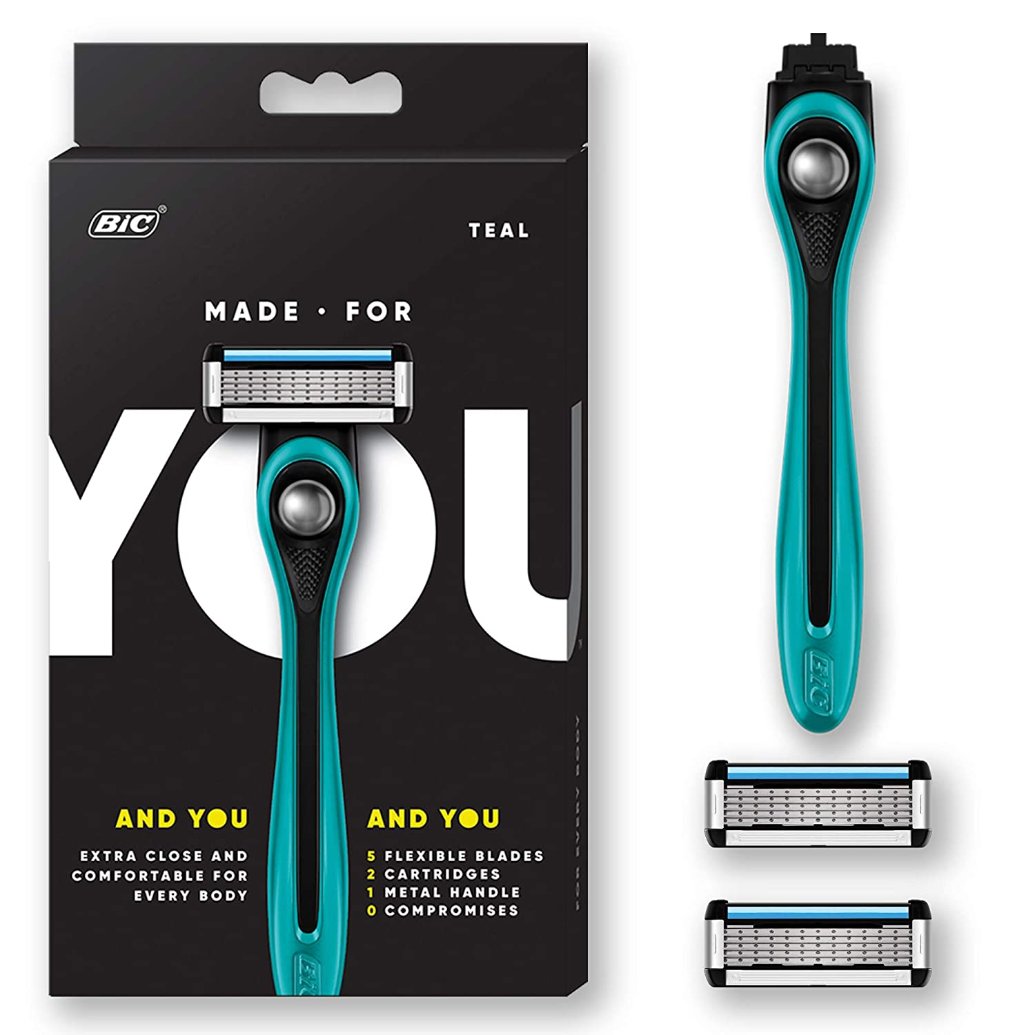 Made For YOU by BIC Shaving Razor Blades for Every Body - Men & Women, with 2 Cartridge Refills - 5-Blade Razors for a Smooth Close Shave & Hair Removal, TEAL, Kit