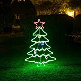 Soft Glow Christmas Tree Silhouette Rope Light with Stand, 9 Flashing LEDs, Indoor Outdoor Decoration, H114cm x W70cm, 5m Cable