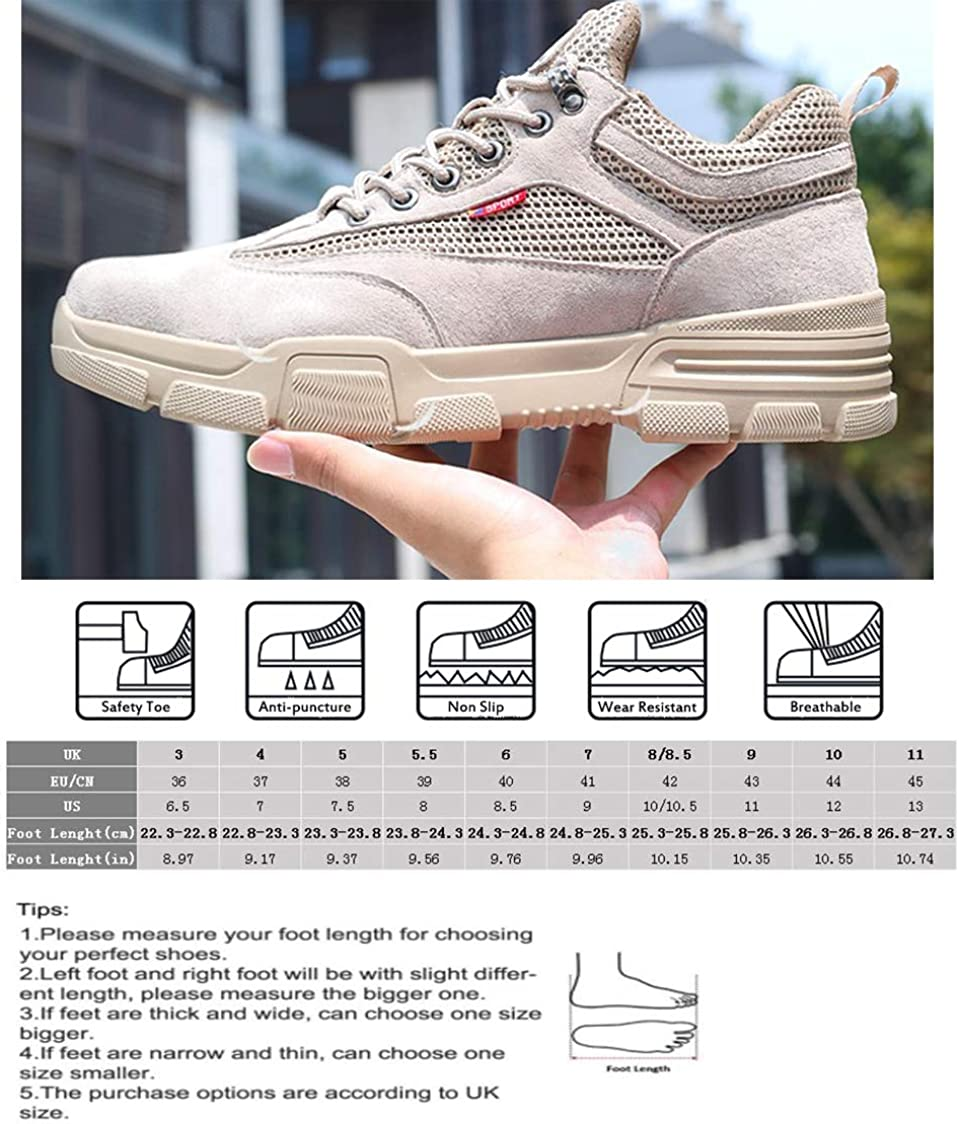 Unisex Safety Shoes Lightweight Comfortable Suede Steel Toe Cap Non-Slip Work Sneakers Trainers for Mens Women
