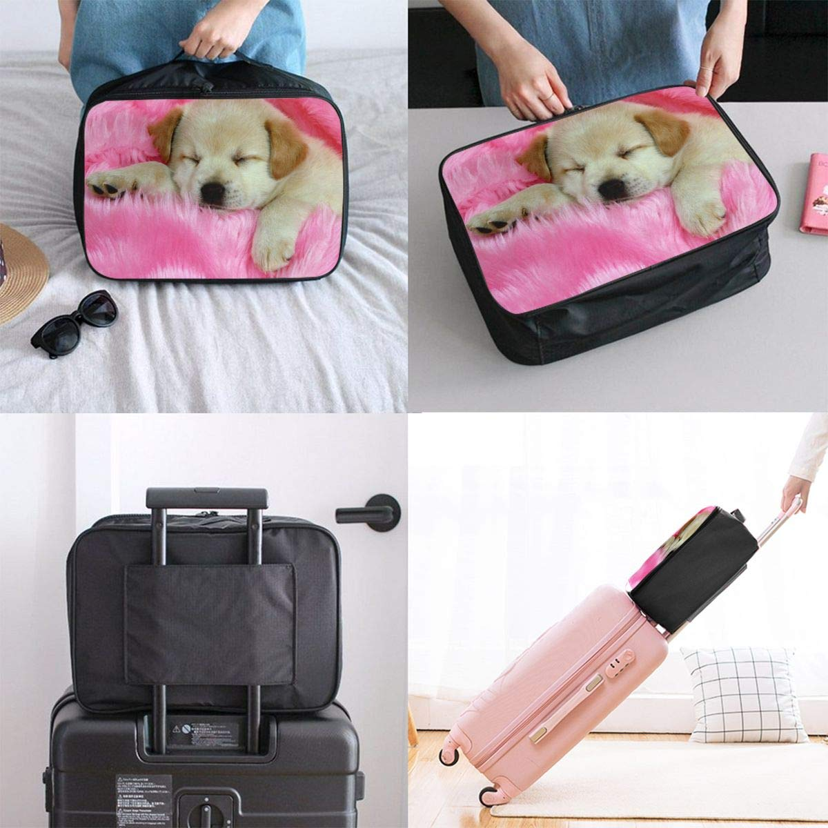Hd8yehao Cute Dog Sitting On Fur Carpet Travel Duffel Bag Lightweight Waterproof Large Capacity Portable Luggage Bag