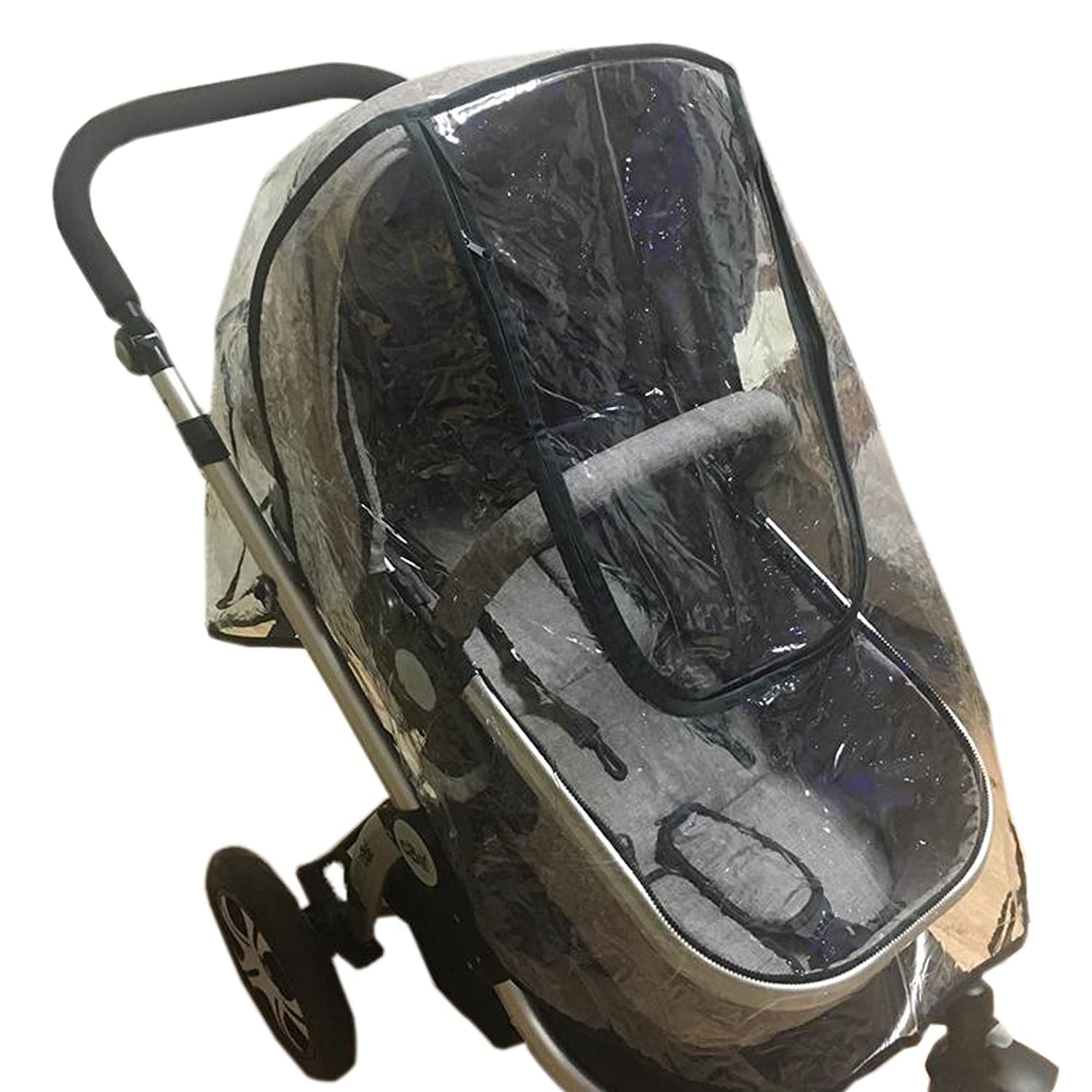 Elonglin Universal Baby Stroller RainCover Upgraded Rainproof Dustproof Windproof Shield Cover Travel System Pushchair Throw Over Buggy Deluxe Rain Cover Fits Hundreds of Models Pram/Carriage Matte EL.YZ0398-3