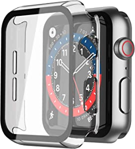 Langboom Transparent Hard Case Compatible with Apple Watch SE Series 6 Series 5 Series 4 40mm with Screen Protector, iWatch Ultra Thin HD Tempered Glass Screen Protector Overall Protective Cover